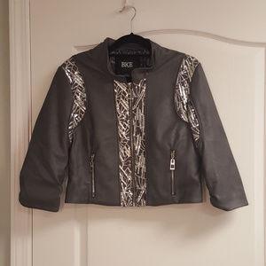 BKE Grey Leather Sequin Moto Jacket